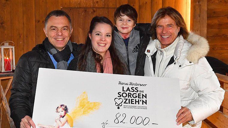 Rainer Riedl,  Lena Riedl, Valentin, Hansi Hinterseer